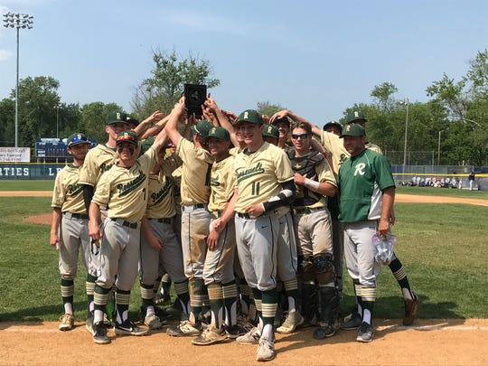 The FDR baseball team celebrates its Section 9 Class A title Saturday