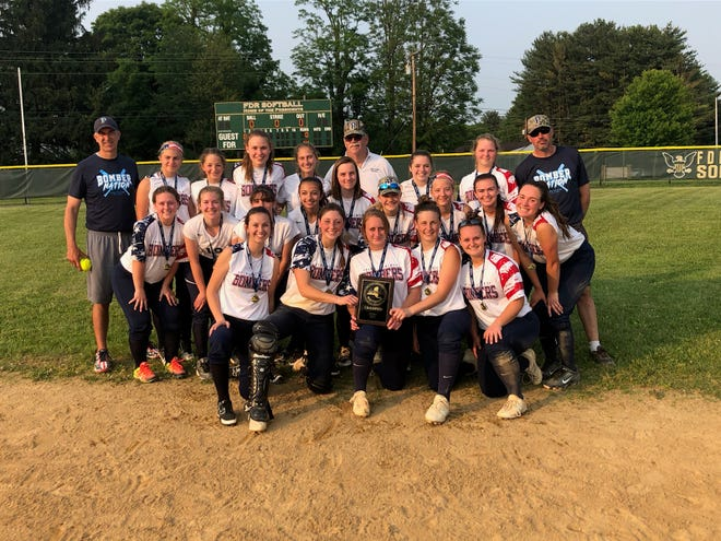 The Pine Plains softball team poses after beating S.S. Seward, 14-0, to win the Section 9 Class C championship at Franklin D. Roosevelt High School.