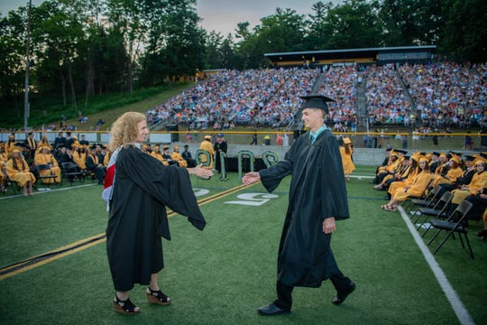 Students from Red Lion Area High School take part in their graduation ceremony Friday, May 31, 2019. J. Kelley Dentry photo