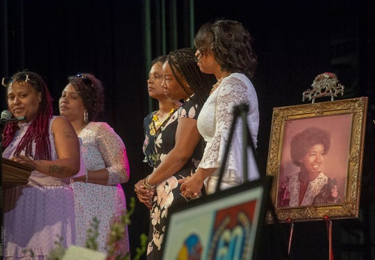 "Virginia ""Chris"" Shockley's daughters speak at her celebration of life Saturday, June 1, 2019 at William Penn Sr. High School. Shockley, who was a 1976 graduate of the high school and worked there for the past 15 years, died suddenly on May 27."