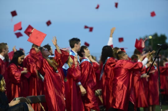 Susquehannock Class of 2019 throw their mortarboards into the air following the end of commencement Friday, May 31, 2019.