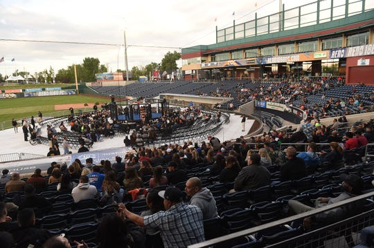 The World Fighting Championships MMA event is seen at Greater Nevada Field in Reno on May 31, 2019.