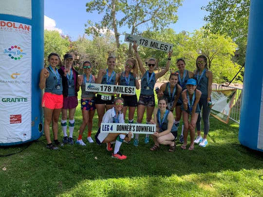 The Kiss My Dust all-women's running team set an Open Women's record in the Reno Tahoe Odyssey on Saturday.