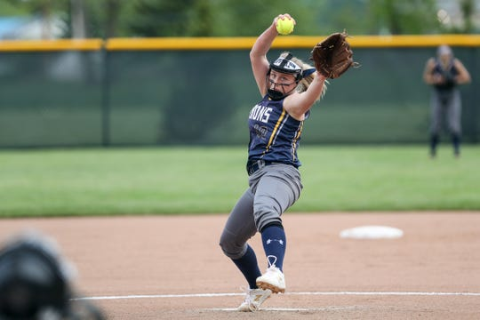 Brighton Barons pitcher Ainsley Evanetski (10) delivers a pitch in the first inning against the Bishop Kearney Kings during the Section V Class A1 championship high school softball game Brighton won 4-3.