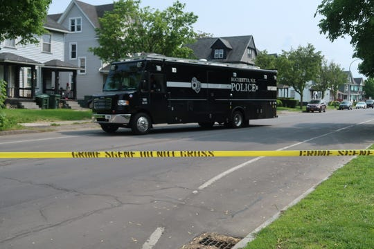 RPD's mobile command unit leaving a scene on Peck Street Saturday.