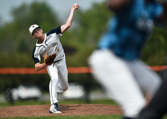 Pittsford Sutherland's John Messina delivers a pitch against Eastridge during the Section V Class A2 Championship at RIT, Saturday, June 1, 2019. No. 3 seed Pittsford Sutherland claimed the A2 title with a 3-2 win over No. 4 seed Eastridge.