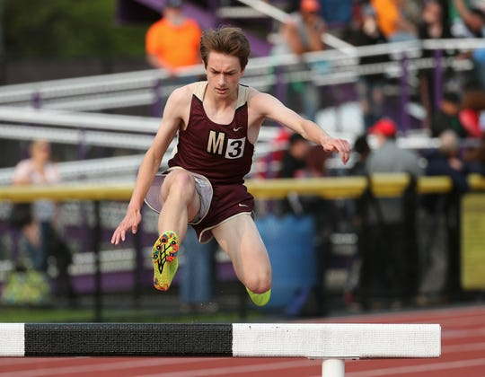 Pittsford Mendon's Sam Lawler came out on top in the Division I 3,000 meter steeplechase.