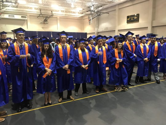 Central graduates prepare to walk into the gym at the Junell Center, 2235 S. Jackson St., Saturday, June 1, 2019.