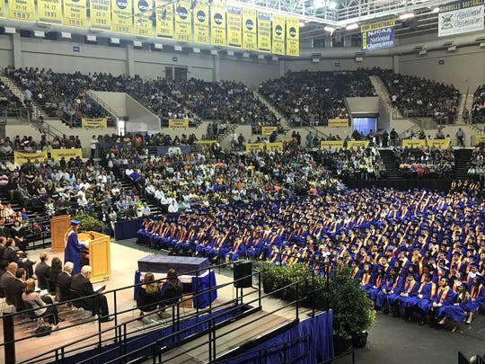 The crowd listens as the Central Hight School valedictorian speaks at the Junell Center, 2235 S. Jackson St., Saturday, June 1, 2019.