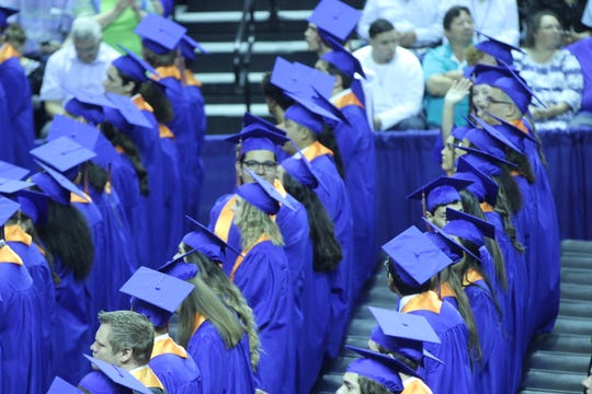 Central graduates line up in the gym before graduating at the Junell Center, 2235 S. Jackson St., Saturday, June 1, 2019.