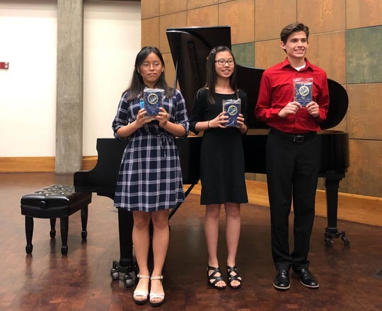 Students receiving Farrell Festival Sonata Plaques were Jane Kim, Alayna Kang and Nathen Miller.