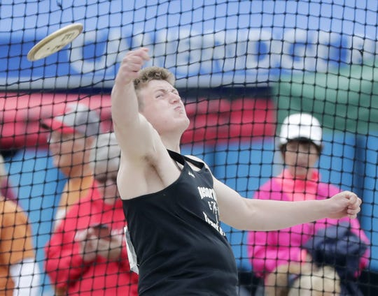 Elkhart Lake-Glenbeulah's Finn Shields competes in the Division 3 discus at the  WIAA state track and field meet at Veterans Memorial Field in La Crosse on Saturday.