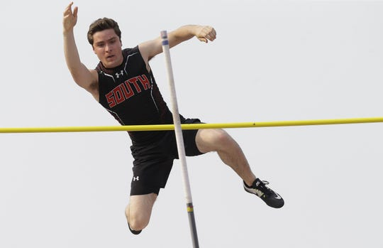 Sheboygan South's Brock Kovacic clears the bar in the Division 1 pole vault during the WIAA state track and field meet Friday at Veterans Memorial Stadium in La Crosse.