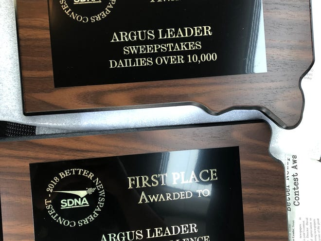 Sweepstakes and General Excellence awards for the Argus Leader in the 2018 Better Newspaper Contest put on by the South Dakota Newspaper Association.