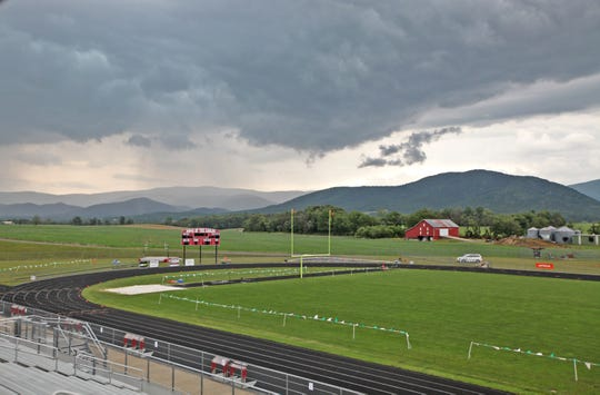 Storms delay the VHSL track and field championships for 1A/2A schools at East Rockingham High School in Elkton on Friday, May 31, 2019.