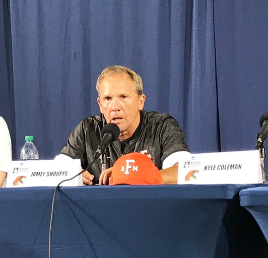 FAMU baseball head coach Jamey Shouppe speaks during the postgame press conference after losing to Georgia Tech in the Atlanta Regional of the NCAA tournament on Friday, May 31, 2019