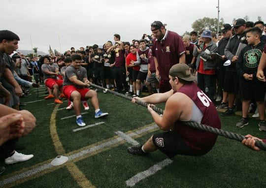 The Grace Brethren A team beats Simi Valley during a tug-of-war match at the Ventura County Football Coaches Hogs Tournament at Simi Valley High on Saturday.