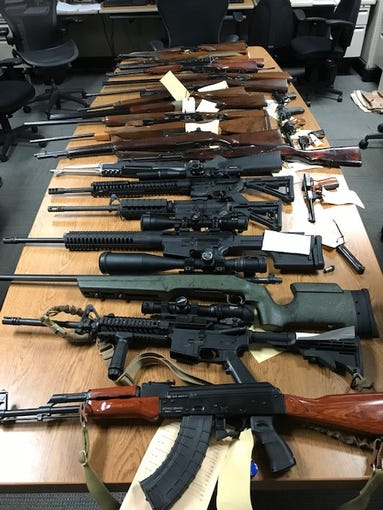 Numerous firearms, including some illegal assault-style rifles, were seized from an Ojai residence by Ventura County Sheriff's authorities.