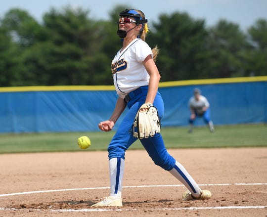 Buena's Nat Ampole on the mound during the state semifinal game at Rowan College at Gloucester County on Friday. The Chiefs won 9-0.