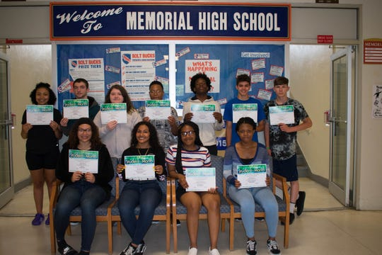Millville Memorial High School's Students of the Month for April are: (Front row, from left) Alana Preston, Aniyah Rivera, Zonnai Stephenson and Tashina Romelus; and (back row, from left) Jania Lane, Devon Schultz, Olivia Diemond, Mark Green, DeAndre Harris, Jacob Lewis and Norton Scott. Adrain Colon Matos is not pictured.