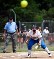 Buena's Emily Thurston makes a play at third base during the state semifinal game against South Hunterdon at Rowan College at Gloucester County on May 31, 2019.