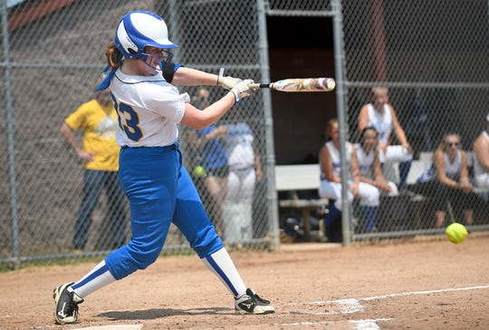 Buena's Kate Egan at bat during the state semifinal game against South Hunterdon at Rowan College at Gloucester County on May 31, 2019.
