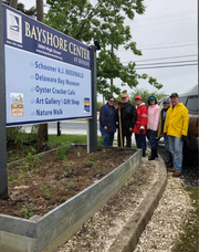 Rutgers Master Gardeners of Cumberland County, (from left) Marilyn English, Allen English, Marie Nicke, Claudia Rempfer, Beth Osborn and Bill Martin recently worked on the garden at entrance to the Bayshore Center at Bivalve.
