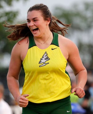 D.C. Everest's Danni Langseth celebrates after winning the Division 1 shot put after throwing 45 feet, 6.25 inches during at the WIAA state track and field meet Friday in La Crosse.