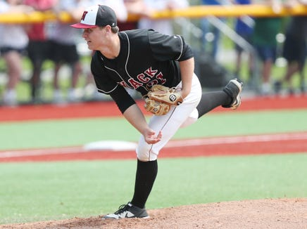 Nyack's Parker Stemkowski (21) in action against Lakeland during the Section 1 Class A championship at Pace University in Pleasantville June 1,  2019. Nyack went on to win the game 2-0.