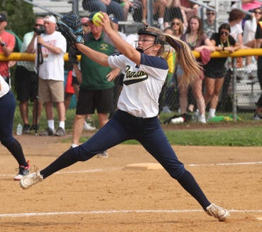 Olivia Bordenaro of Walter Panas pitches to Lakeland during the Section 1 Class A softball championship game at North Rockland High School June 1, 2019. Panas defeated Lakeland 7-3.