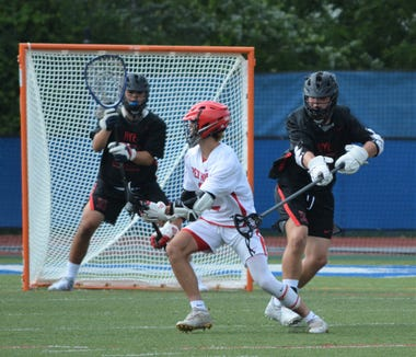 Red Hook's Brian Kelly gets in position for a shot during the second half of an 18-3 loss to Rye on June 1, 2019 at Middletown High School.