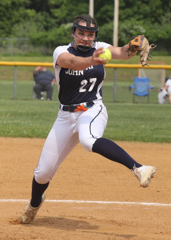Megan Schumacher of John Jay East pitches to White Plains during the Section 1 Class AA softball championship game at North Rockland High School June 1, 2019. Schumaker pitched a complete game shutout as John Jay East Fishkill defeated White Plains 12-0.