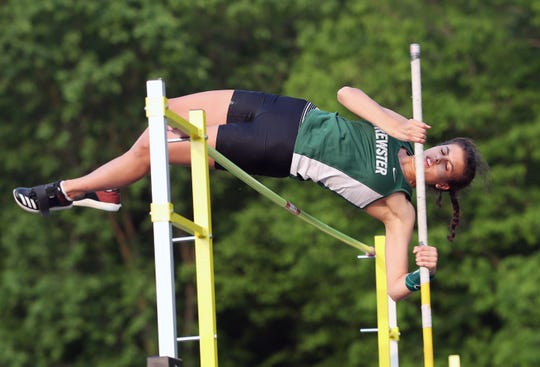 Brewster's Clarissa Cuomo clears the bar in the pole vault during the Section 1 State Track and Field Qualifier at Arlington High School in LaGrangeville May 31, 2019.