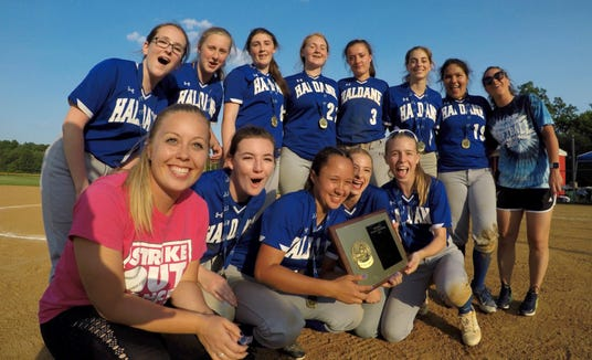 Haldane players celebrate after beating Hamilton 20-7 to win the Section 1 Class C softball final at North Rockland May 31, 2019.