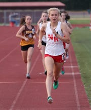 North Rockland's Katelyn Tuohy on her way to winning the girls 3000 during the Section 1 State Track and Field Qualifier at Arlington High School  May 31, 2019.