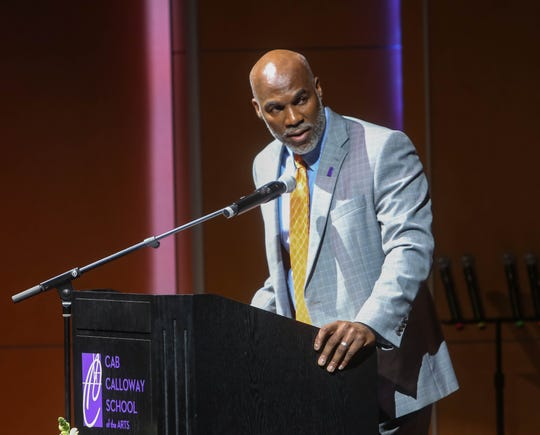 RCCSD Superintendent Dorrell Green speaks to the Class of 2019 from Cab Calloway School of the Arts as they take part in the school's graduation ceremony on May 31, 2019.