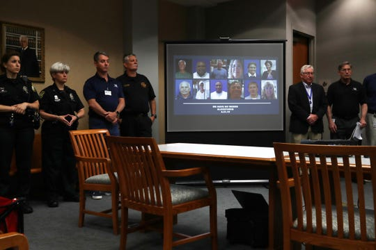 The photographs and names of the 12 victims of a mass shooting at the Municipal Center were announced by city officials during a news conference June 1, 2019 , in Virginia Beach, Virginia.