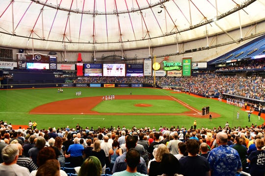A general view of Tropicana Field during the national anthem before a game between the Tampa Bay Rays and the New York Yankees on May 12.