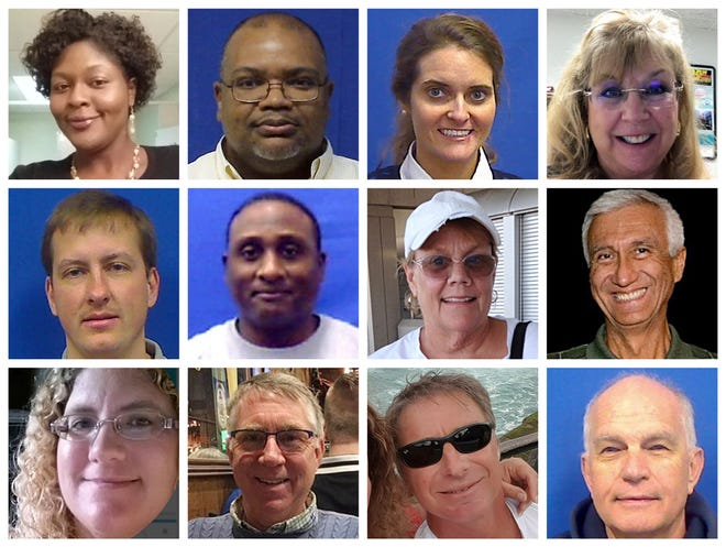 """This combination of photos provided by the City of Virginia Beach on Saturday, June 1, 2019 shows victims of Friday's shooting at a municipal building in Virginia Beach, Va. Top row from left are Laquita C. Brown, Ryan Keith Cox, Tara Welch Gallagher and Mary Louise Gayle. Middle row from left are Alexander Mikhail Gusev, Joshua A. Hardy, Michelle """"Missy"""" Langer and Richard H. Nettleton. Bottom row from left are Katherine A. Nixon, Christopher Kelly Rapp, Herbert """"Bert"""" Snelling and Robert """"Bobby"""" Williams. (Courtesy City of Virginia Beach via AP) ORG XMIT: NY150"""