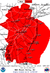 Severe thunderstorms are possible throughout New Jersey Sunday evening