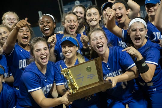 Donovan Catholic with their state trophy. Donovan Catholic Softball defeats Mount Saint Dominic Academy in a five inning mercy rule win of Non-Public A State Championship in Union, NJ on June 1, 2019.