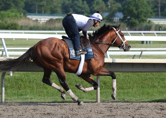 Maximum Security with exercise rider Edelberto Rivas breezes at Monmouth Park Sunday morning