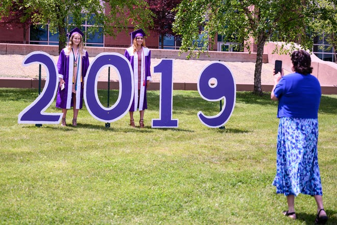 Lakeview students pose for the camera prior to the high school graduation on Sunday.
