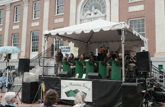 The Green Mountain Swing Band, a community group based in Central Vermont, perform in front of City Hall in Burlington on Saturday, June 1, 2019, during the Burlington Discover Jazz Festival.