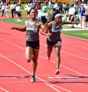 Kaylyn Heath and Serena Clark took a 1-2 finish for Lakota East in the girls 100 dash at the OHSAA Division I State Track and Field Championships at Ohio State University, June 1, 2019.