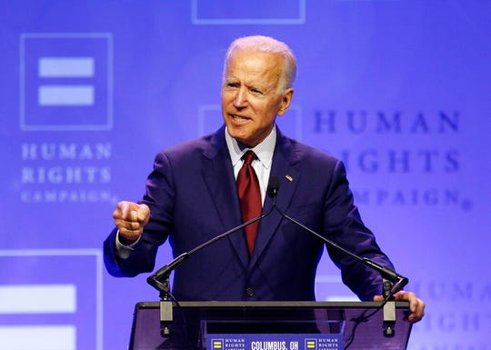 Democratic presidential candidate, former Vice President Joe Biden speaks during the Human Rights Campaign dinner at Ohio State University, Saturday, June 1, 2019, in Columbus, Ohio. (AP Photo/Paul Vernon)