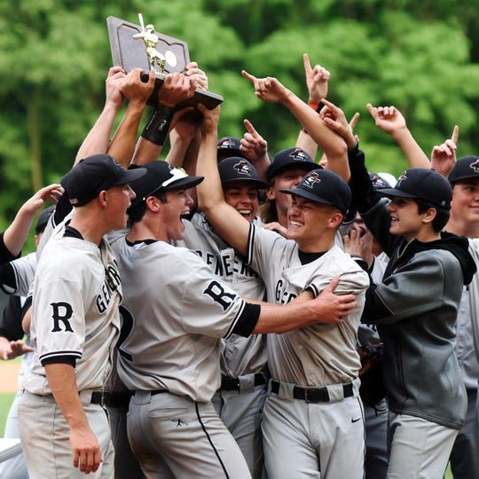Ridgewood players celebrate after a 4-3 comeback win against Minford in a Division III regional final in 2019 at Ohio Dominican. The Generals eventually made the state championship game.