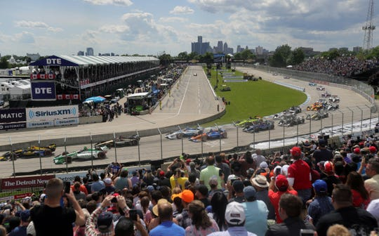 Fans enjoy the start of the Detroit Grand Prix on Sunday, June 2, 2019, on Belle Isle.