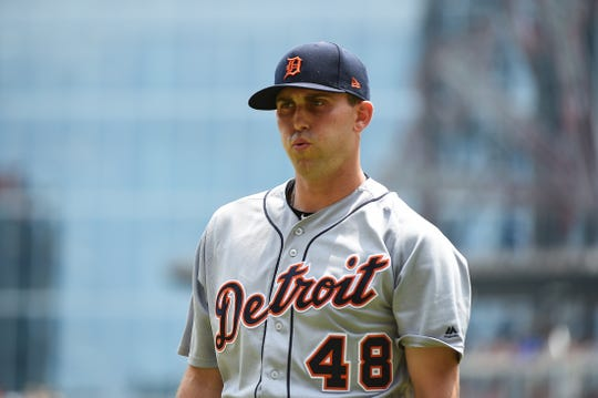 Tigers pitcher Matthew Boyd walks to the dugout after the third inning of the Tigers' 7-4 loss on  Sunday, June 2, 2019, in Atlanta.