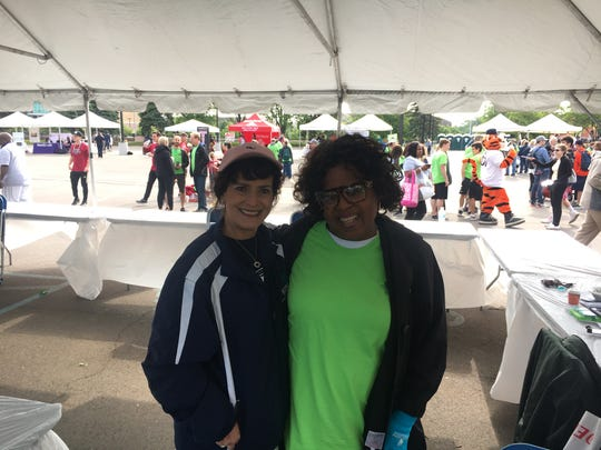 Scleroderma Foundation Michigan Executive Director Laura Dyas, left, with volunteer Patricia Horton.